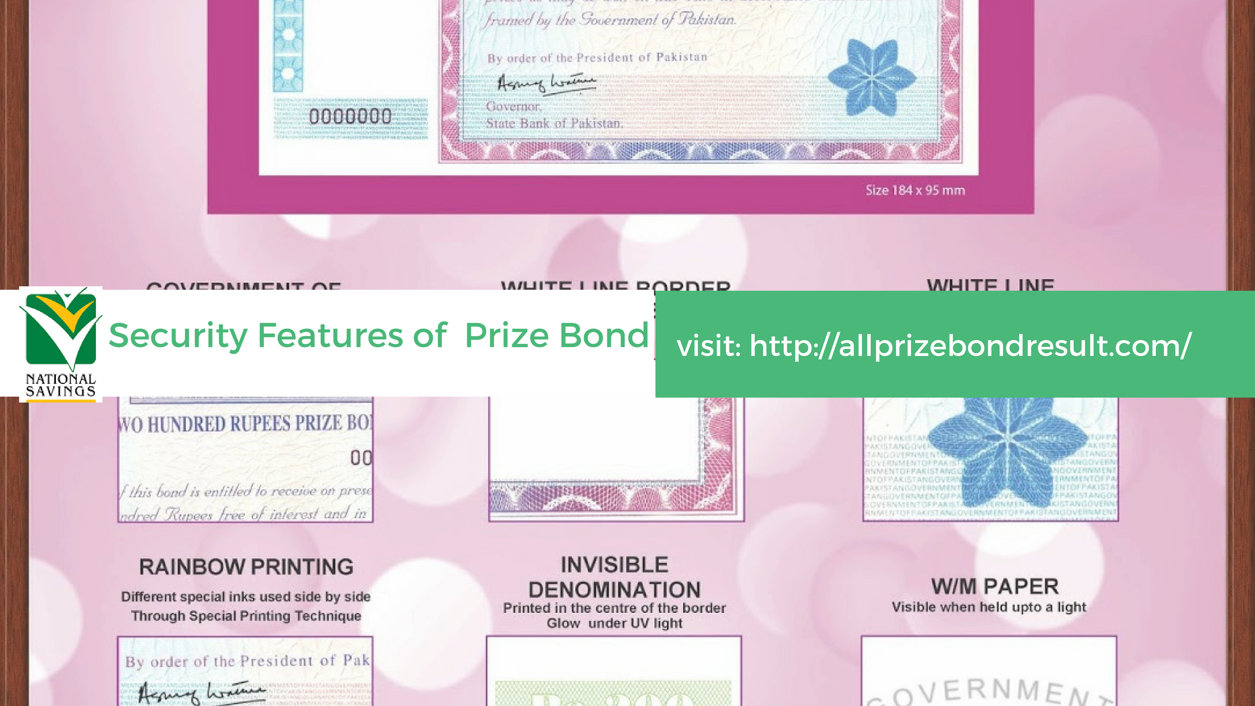 Prize bond Security Features